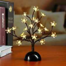 Cherry Blossom Bonsai Tree Light 20 LED Table Lamp Night Fairy Lights 12Inch New
