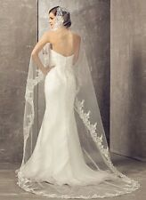 Wedding Bridal Ivory Cathedral Veil 1 Tier Soft Tulle Lace Edge With Metal Comb