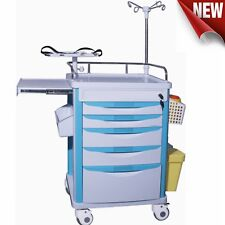 Dental Lab Medical Emergency Rolling Trolley Cart Movable Operating Room Trolley