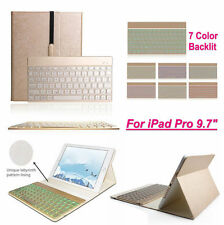 """Apple iPad Pro 9.7"""" Colorful Backlit Bluetooth Keyboard Leather Case Smart Cover"""