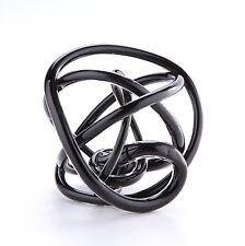 """New 8"""" Hand Blown Art Glass Knot Sculpture Figurine Statue Abstract Black"""