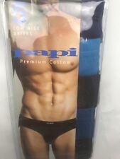 Papi Mens Underwear 5 Pk Large Low Rise Brief Black Blue Cotton NEW
