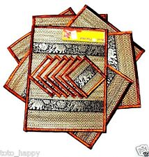 6 x pcs Reed Place Mats Elephant Handcraft North Thailand Coaster Dining