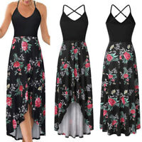 Summer Women Boho Floral Printed Dresses Fashion Ladies Sleeveless Long Dress@