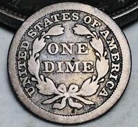 1845 Seated Liberty Dime 10c Ungraded Choice Good Date 90% Silver US Coin CC6501