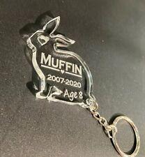 Personalised Engraved Rabbit Pet Memorial Keyring , Grave Mark Loving Memory Cat