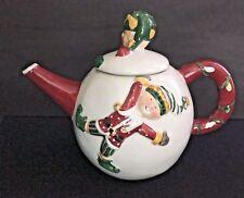 "Christmas Tea Pot Sakura Elf Teapot Round Holiday Cooking Gift  Ceramic 5 1/2"""