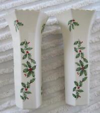 "Two Lenox Special Christmas Holly Berry Hexagonal 7"" Bud Vases Gold Trim Usa"