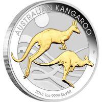 2018 Australian Kangaroo 1oz Silver Gilded Coin