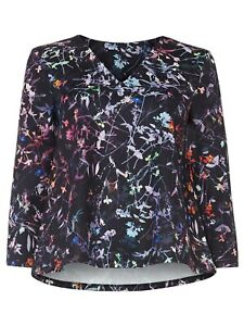 NEW Ladies Womens Phase Eight MIDNIGHT GARDEN FLORAL TOP Size 16,18 MULTI BLACK
