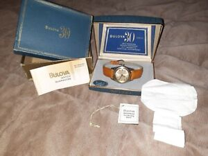 Vintage Bulova 30 Jewel Stainless Steel & Gold  Mens Watch 30j 1963 full set!