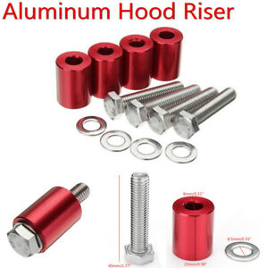 Red Aluminum 4Pcs Car Hood M8-1.25 Heighten Spacers with 4Pcs Mounting Bolts