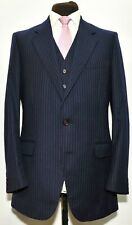 SUPERB GIEVES AND HAWKES SAVILE ROW THREE PIECE NAVY PINSTRIPE SUIT 40 L 34 W