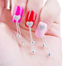 3Pcs 3D Nail Art Decoration Rhinestone Heart Drop Design Charms Crafts Studs