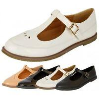 New womens cut out ladies geek T-bar girls office school pump shoes size 3-8