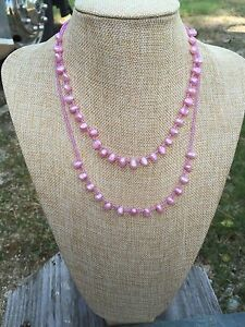 Handmade Double Strand Necklace of Bright Pink FW Pearls and Czech Seed Beads