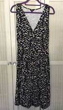 Hobbs Black Dress Stretch Sleeveless Purple Brown White Fawn Spots Size 12