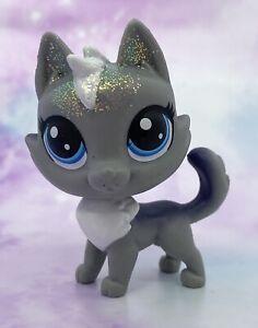 Littlest Pet Shop No # Puppers Gray Navy Blue Glitter Husky Blue Eyes