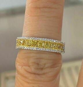 2Ct Princess Yellow Citrine Diamond Women's Engagement Ring 14K White Gold Over