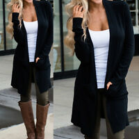 Women's Sweater Long Sleeve Casual Cardigan Autumn Solid Jumper Coat Jacket DO