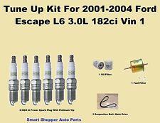 Tune Up Kit For 2001-2004 Ford Escape L6 Serpentine Belt, Spark Plug, OIl Filter