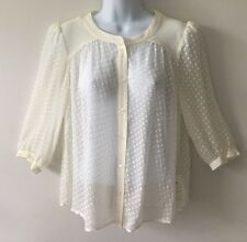 JACK WILLS Sz UK 10 US 6 Ivory Silk Clip Dot Blouse Shirt Poets EUC Sheer