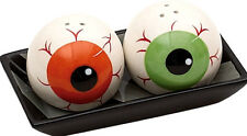 Halloween EYE BALLS Ceramic Salt Pepper Shakers Tray ORANGE gREeN Eyeballs New!