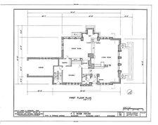 Frank Lloyd Wright's Bogk architectural plans, brick Prairie Style house