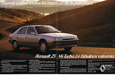 PUBLICITE ADVERTISING   1986   RENAULT 25  V6 TURBO  ( 2 pages)