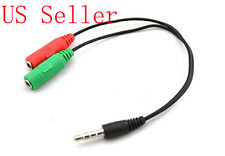 3.5mm AUX Audio Mic Splitter Cable Earphone Headphone Adapter Female to 2 Male