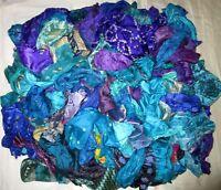 LOT PURE SILK Vintage Sari REMNANT Fabrics 100 GRAMS Violet Blue #ABCSJ