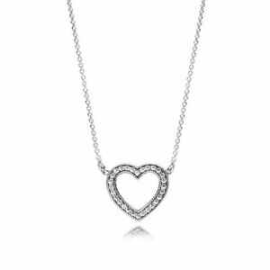 New Authentic 925 SIlver Loving Hearts of PANDORA Necklace #590534CZ- 45cm POUCH