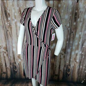 Mauve Stripe Pink Wrap Tie V Neck Plunge Dress Soft Plus All Sizes Regular Women