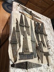 """LOT OF Antique IRON ? STRAP HINGES BARN DOOR GATE 20"""" LONG"""