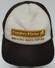 Vintage 1990s Country Flame Wood Stoves Fireplaces ADVERTISING SNAPBACK HAT CAP