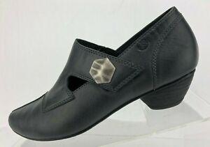 Josef Seibel Pumps Tina Mary Janes Black Leather Comfort Heels Womens 37 6/6.5