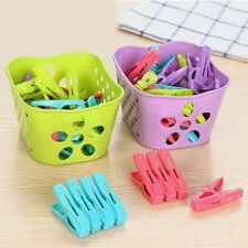 24pcs Clothes Pegs Pins Beach Towel Clip Clamp Household Clothespins With Basket