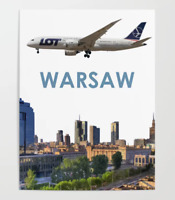 """LOT Polish Airlines Boeing 787 over Warsaw Art - 9"""" x 12"""" Poster"""