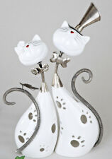2-tlg. Formano Windlicht Katze Keramik Metall weiss silber Katzen Paar 717870 ♥