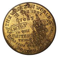 Western World Family Paper Boston Mass. Brass Shell Card Mirror Token B-MA-460