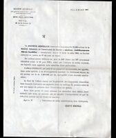 "PARIS (IX°) BANQUE ""SOCIETE GENERALE"" Tract en 1881"