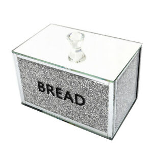 NEW Crushed Diamond Crystal Mirrored Bread Bin Container Kitchen Sparkly Glitter