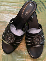 "AIR SUPPLY + PLUS WOMEN'S Black 2"" SHOES HEELS SANDALS MULES Size Size 8M Great"