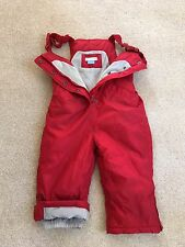 BOYS GIRLS RED JOHN LEWIS WARM FLEECE SKI SNOW TROUSERS DUNGAREES - 18-24 MTHS