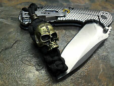 BLACK PARACORD KNIFE LANYARD KEYCHAIN BRONZE CROSS SKULL BEAD