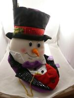Snowman elegant Christmas stocking purple black red Cute Piccadilly player dad