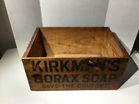 Antique WOOD CRATE KIRKMAN'S BORAX SOAP Large Wooden Box