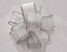 3mt X 38mm SILVER SPECKLES & TINSEL Organza Ribbon Wedding Christmas NewYear Dec