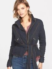 Free People NWT Navy Double Cloth Twill Motor Jacket Coat Sz L ($168)
