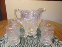 MOSSER WHITE CARNIVAL GLASS DAHLIA PITCHER AND FOUR TUMBLERS